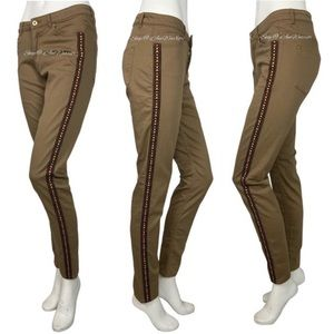 H&M embroidered racing stripe skinny jeans